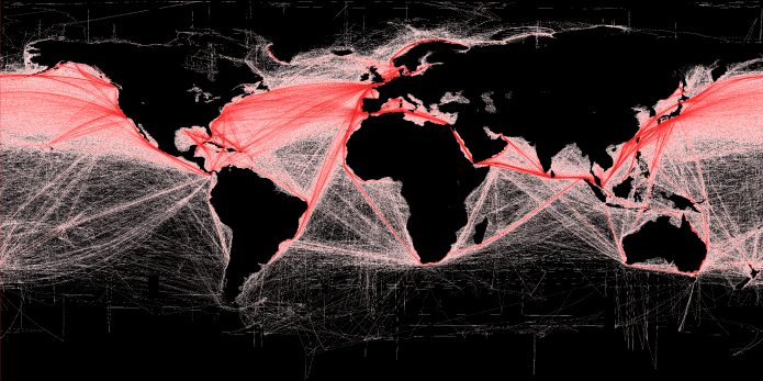 Global shipping routes crisscross the world's oceans in this map of shipping lanes derived from a 2008 study of the human impact on marine ecosystems. Maritime traffic along these lanes is also a major source of noise pollution, which is increasingly considered harmful to marine mammals. Credit: Grolltech