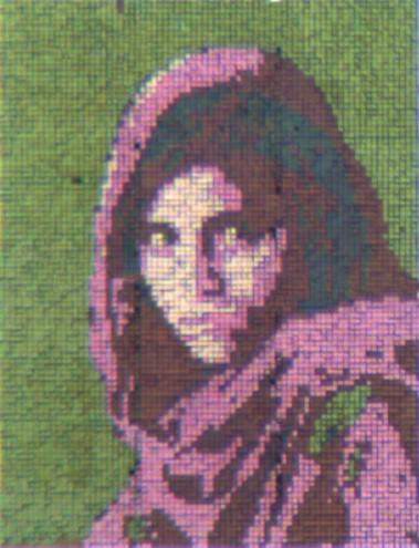 Dr. Chanda used an iconic National Geographic photographic of an Afghan girl to demonstrate the color-changing abilities of the nanostructured reflective display developed by his team. CREDIT University of Central Florida