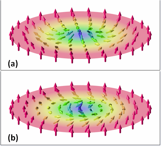 The vector field of two, two-dimensional magnetic skyrmions. (Image: Karin Everschor-Sitte and Matthias Sitte (The Authors) [CC BY-SA 3.0 (http://creativecommons.org/licenses/by-sa/3.0)], via Wikimedia Commons)