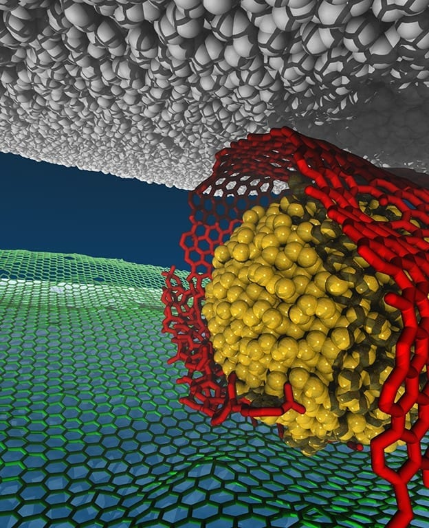 Visualized model of a superlubricity (low-friction) system: gold = nanodiamond particles; red = graphene nanoscroll; green = underlying graphene on silica; black = diamond-like carbon surface.