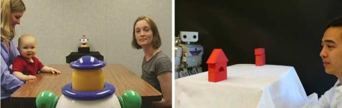 """A collaboration between UW developmental psychologists and computer scientists aims to enable robots to learn in the same way that children naturally do. The team used research on how babies follow an adult's gaze to """"teach"""" a robot to perform the same task.University of Washington"""