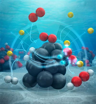 Instead of reacting together on the surface of the catalyst (the palladium cluster), the hydrogen atoms dissociate into their components--protons and electrons. The protons enter the surrounding solution of water and methanol, while the electrons flow through the palladium itself into oxygen molecules. Credit: American Chemical Society.