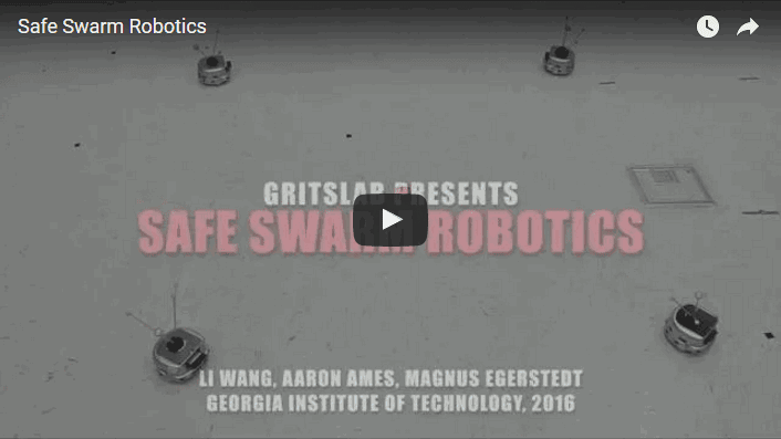 Swarm of robots might collide with each other when performing complicated tasks. It's often hard to plan swarm behavior with non-intrusive collision avoidance. This video shows how a minimally invasive safety controller can be added in order for safety and higher-level objectives to be achieved simultaneously. Click on learn more to see the video