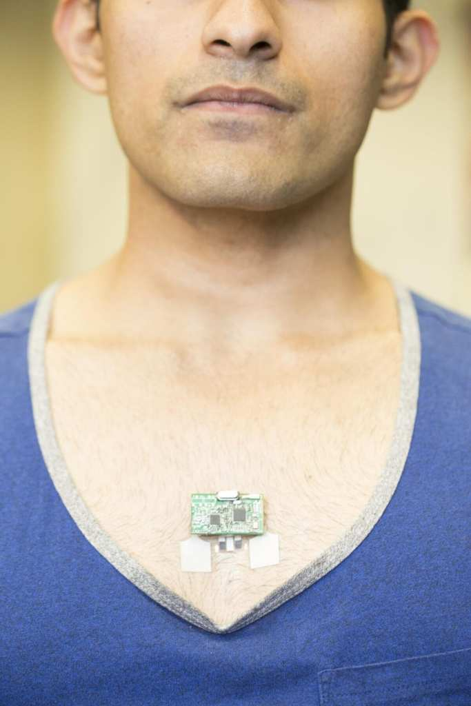 The ChemPhys patch can be worn on the chest, near the base of the sternum, and communicates wirelessly with a smartphone, smart watch or laptop. CREDIT Jacobs School of Engineering/UC San Diego