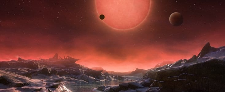 Astronomers using the TRAPPIST telescope at ESO's La Silla Observatory have discovered three planets orbiting an ultracool dwarf star just 40 light-years from Earth. These worlds have sizes and temperatures similar to those of Venus and Earth and are the best targets found so far for the search for life outside the Solar System. They are the first planets ever discovered around such a tiny and dim star.