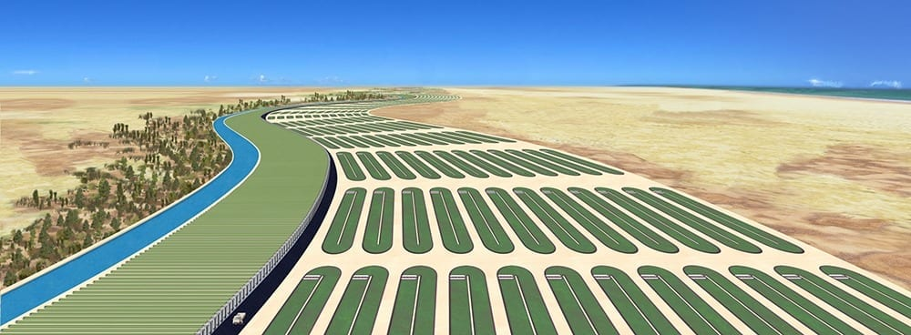 Algaeconsortium.com/Provided An artist's concept of a commercial algae harvesting facility on land unfit for agricultural use.