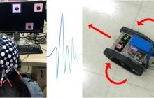 Controlling electronic devices with brain waves using a headset that works through a full head of hair