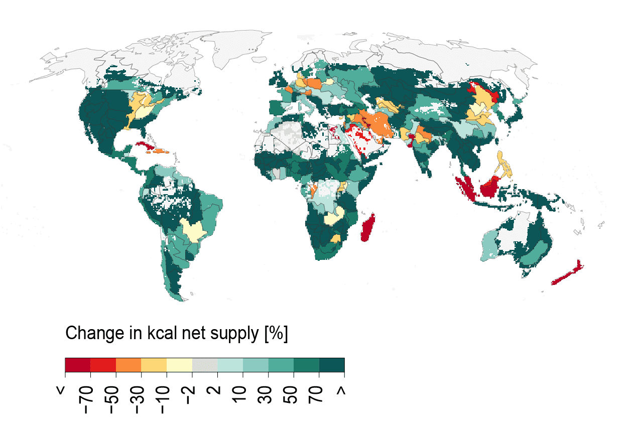 Potential for sustainably recalibrating the food system: Increases in calorie supply are possible in the green-coloured areas; decreases due to overly detrimental food production are shown in red. (Fig. from Gerten et al. 2020)