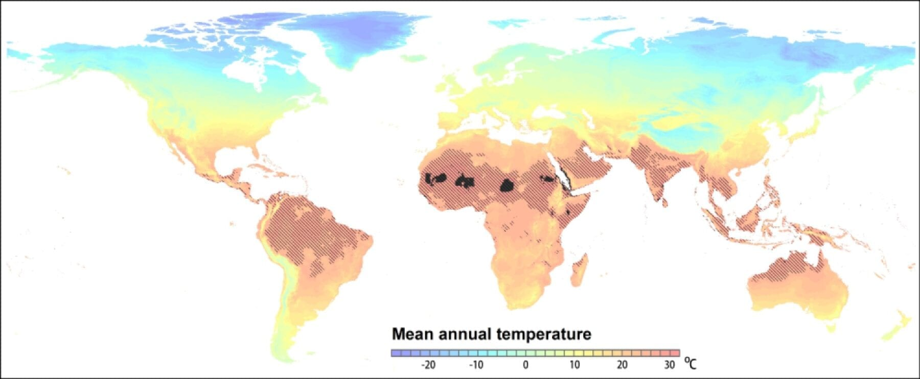 Expansion of extremely hot regions in a business-as-usual climate scenario. In the current climate, mean annual temperatures >29? are restricted to the small dark areas in the Sahara region. In 2070 such conditions are projected to occur throughout the shaded area following the RCP 8.5 scenario