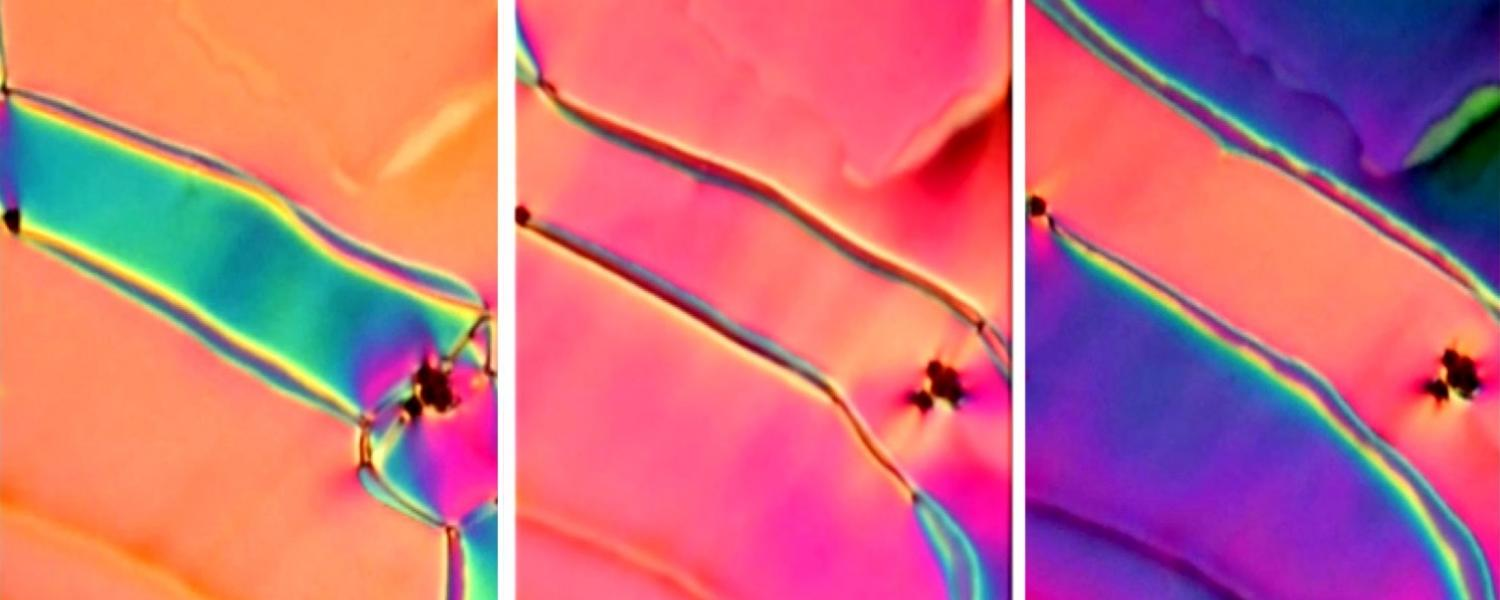 The colors in this newly discovered phase of liquid crystal shift as researchers apply a small electric field. (Credit: SMRC)