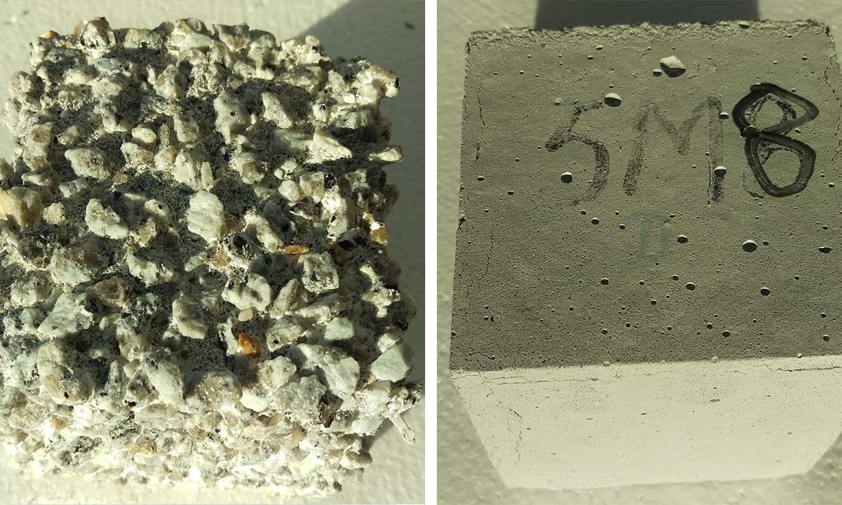 Left: Highly corroded ordinary Portland cement concrete. Right: Zero cement concrete.