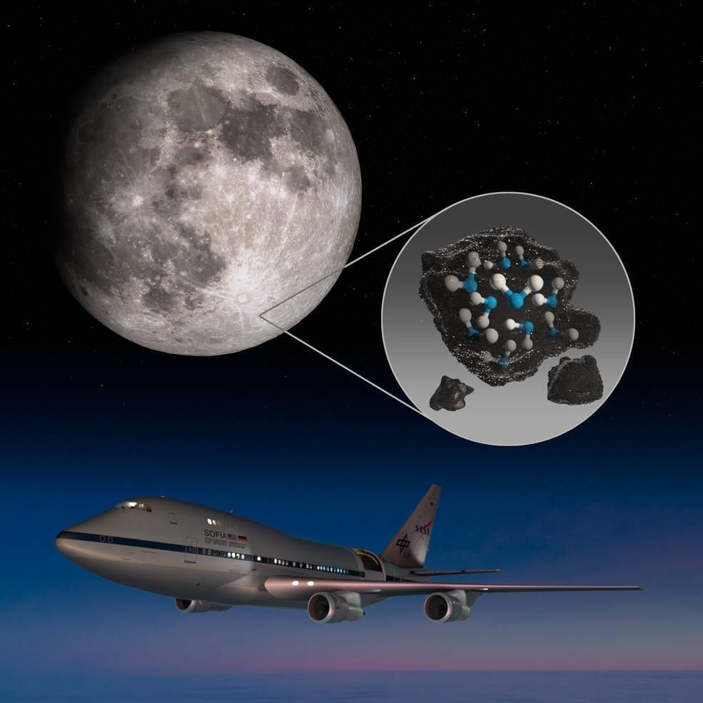 This illustration highlights the Moon's Clavius Crater with an illustration depicting water trapped in the lunar soil there, along with an image of NASA's Stratospheric Observatory for Infrared Astronomy (SOFIA) that found sunlit lunar water. Credits: NASA/Daniel Rutter