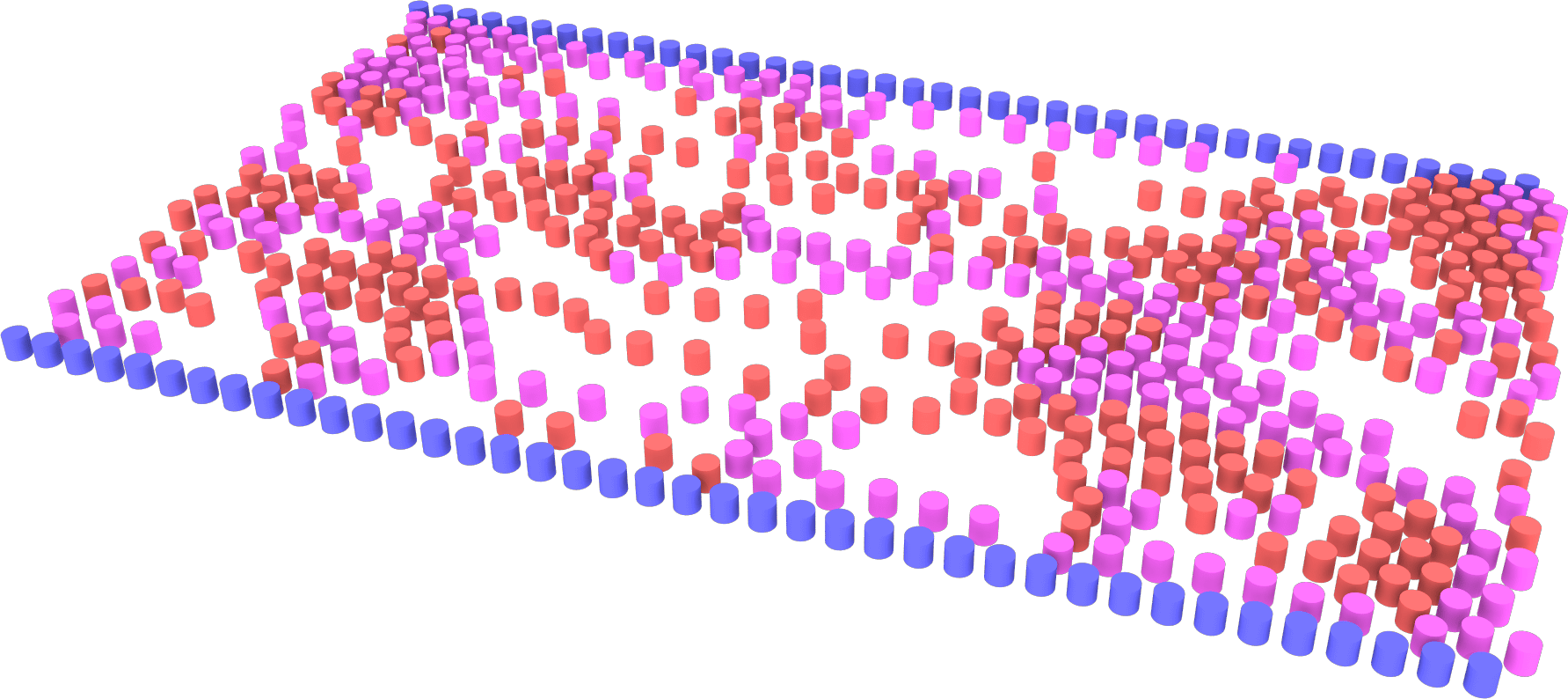 Simulation of pedestrian counterflow (red and pink particles) confined within a hallway (blue boundary), under conditions of weak social distancing. Credit: Kelby Kramer and Gerald J. Wang