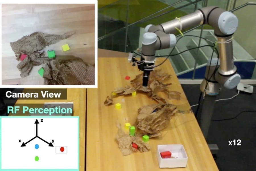 MIT researchers developed a picking robot that combines vision with radio frequency (RF) sensing to find and grasp objects, even if they're hidden from view. The technology could aid fulfilment in e-commerce warehouses. Images courtesy of the researchers