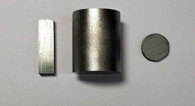 Purified tin selenide shown in pellet form. The material has extraordinarily high thermoelectric performance. Image: Northwestern University
