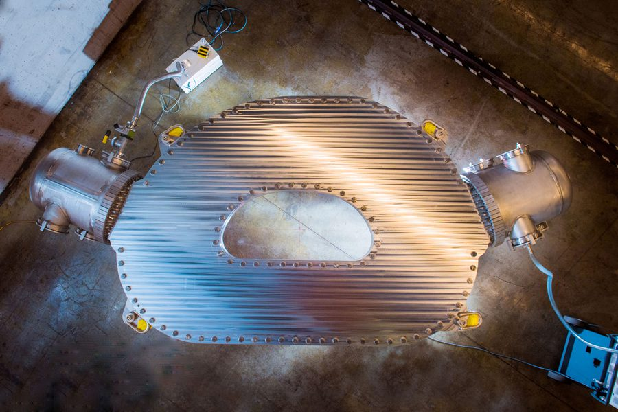 This large-bore, full-scale high temperature superconductor magnet designed and built by Commonwealth Fusion Systems and MIT's Plasma Science and Fusion Centre has demonstrated a record-breaking 20 tesla magnetic field. It is the strongest fusion magnet in the world. Credit: Gretchen Ertl, CFS/MIT-PSFC, 2021