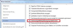 Word 2013 - Deaktivierung der Hardwaregrafikbeschleunigung