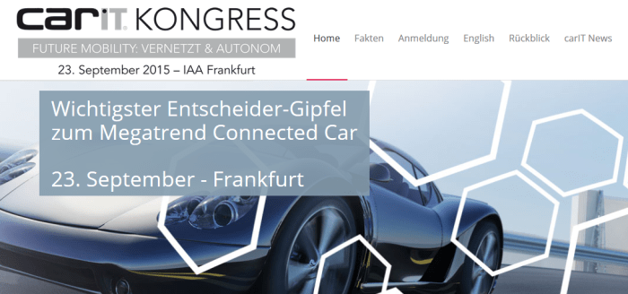 carIT Kongress 2015 - Das vernetzte Fahrzeug