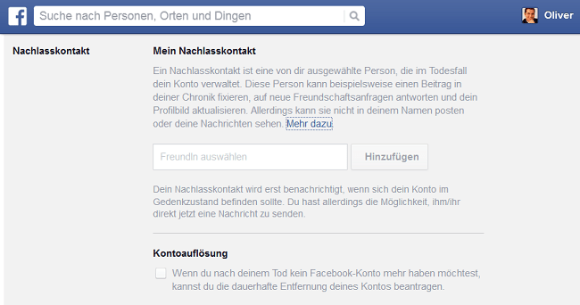 Facebook: Digitale Nachlassverwaltung