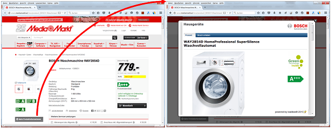 loadbee Beispiel - digitales Produktprofil bei MediaMarkt (AT)
