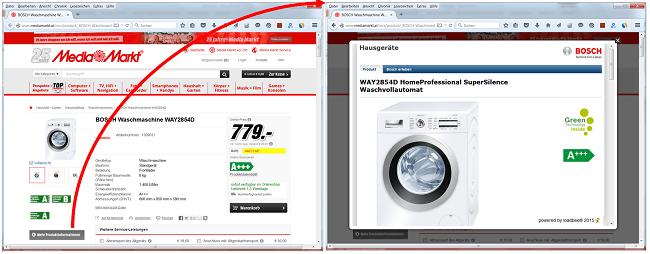 loadbee Beispiel - digitales Produktprofil bei MediaMarkt (AT)