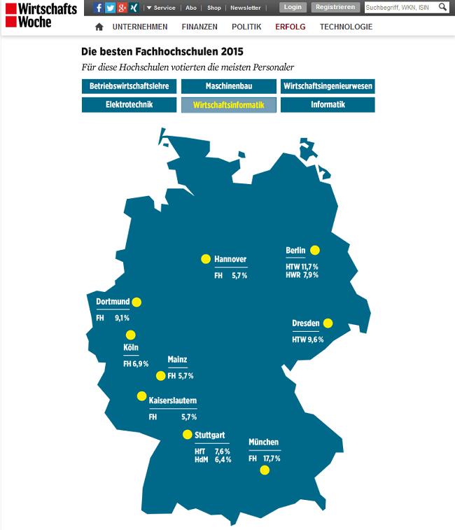 WiWo-Ranking 2015: Karte mit Deutschlands besten FHs im Fach Wirtschaftsinformatik