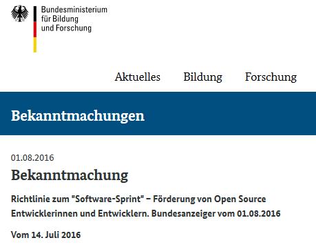 """BMBF-Ausschreibung """"Software-Sprint"""""""