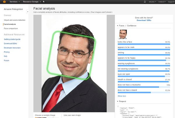AWS Rekognition - Gesichtsanalyse (Testtool)