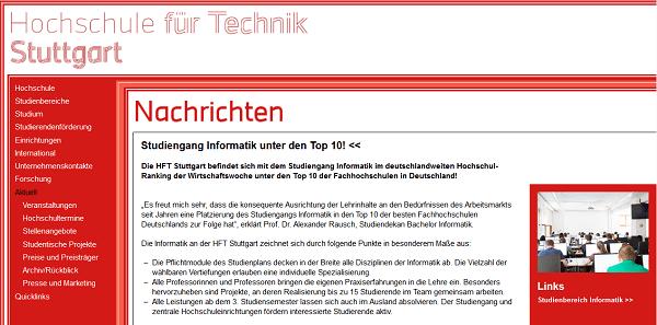 Informatik der HFT Stuttgart erneut in der Top 10 des WiWo-Ranking 2018
