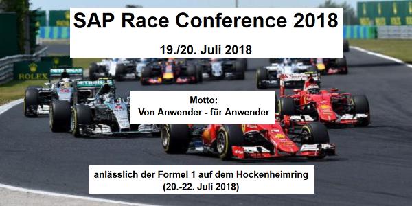 SAP Race Conference 2018 am 19. und 20.7. in Hockenheim - von Anwendern für Anwender
