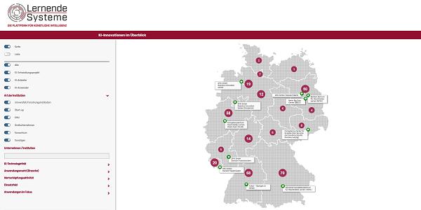 KI-Landkarte der Plattform Lernende Systeme zeigt KI-Innovationen in Deutschland