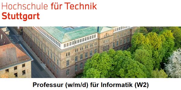Professur für Informatik (W2) an der HFT Stuttgart - bis zum 28.2. bewerben
