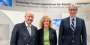 CEA Prof. Dr. Wolfgang Wahlster, CEO Prof. Dr. Jana Koehler, CFO Dr. Walter Olthoff (Quelle: DFKI)
