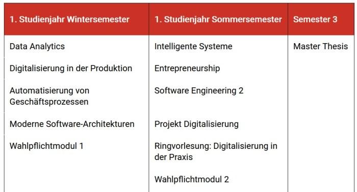 Master Digitale Prozesse und Technologien - Module