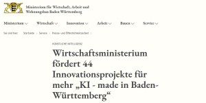 KI made in BW - 44 Innovationsprojekte werden gefördert