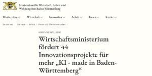 KI made in BW - 44 Innovationsprojekte werden gefördert