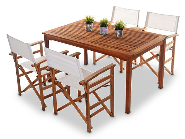 Outdoor Wooden Tables With 4 X Directors Chairs