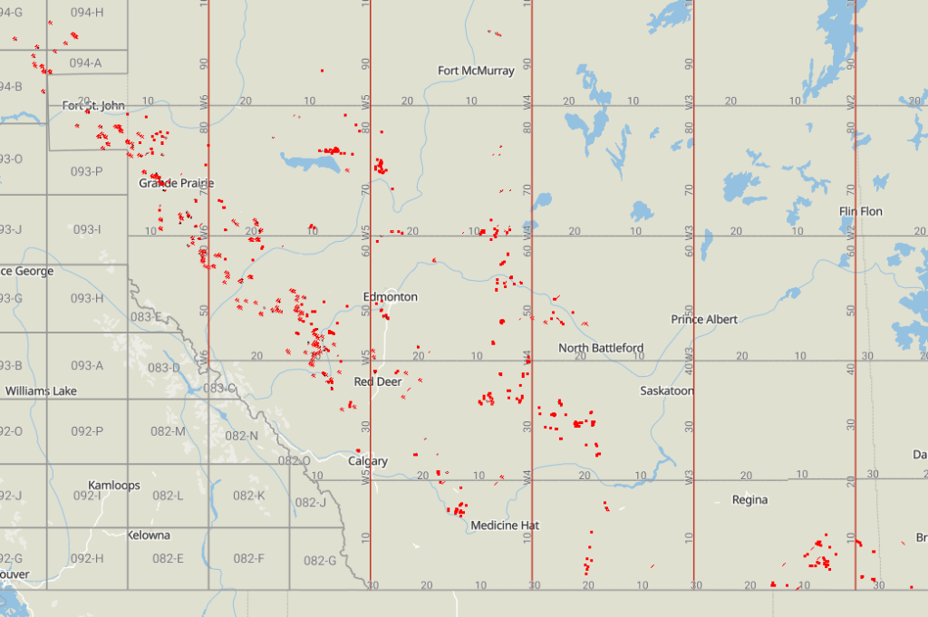 Newly producing well locations in Western Canada