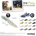 Le concept One-Many de la marque Newfeel permet d'acheter 1 semelle pour le confort et plusieurs tiges pour des styles différents à moindre coût.