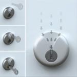 La rosasse du cylindre de serrure est localement fendue pour permettre un meilleur guidage de la clé. Design: Junjie Zhang