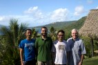 Jesuit scholastic Immanuel Anggun Sugiyono Eko, Matthew Lopez, nSJ, and Jesuit scholastic Thomas Awangga Budiono Surya, with Fr. Ciancimino outside the Xavier High School chapel.