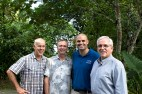 Fr. Michael Corcoran, SJ, director of Yap Catholic High School, Fr. John Mulreany, SJ, superior of the Jesuit Residence on Yap, Pat Nolan, SJ, and Fr. David Ciancimino, SJ, New York provincial.