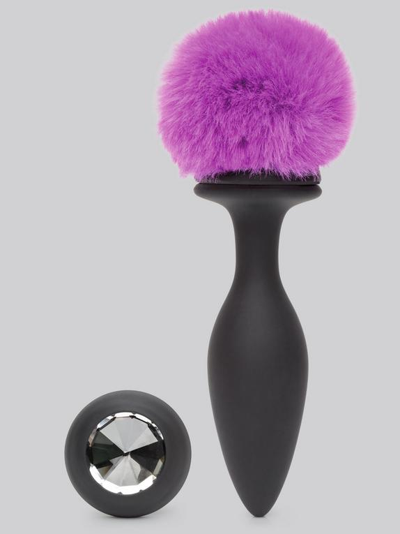 Happy Rabbit Large Rechargeable Vibrating Bunny Tail Butt Plug 5 Inch