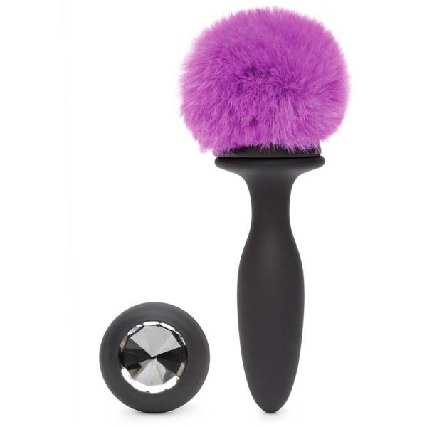 Happy Rabbit Small Rechargeable Vibrating Bunny Tail Butt Plug 4 Inch