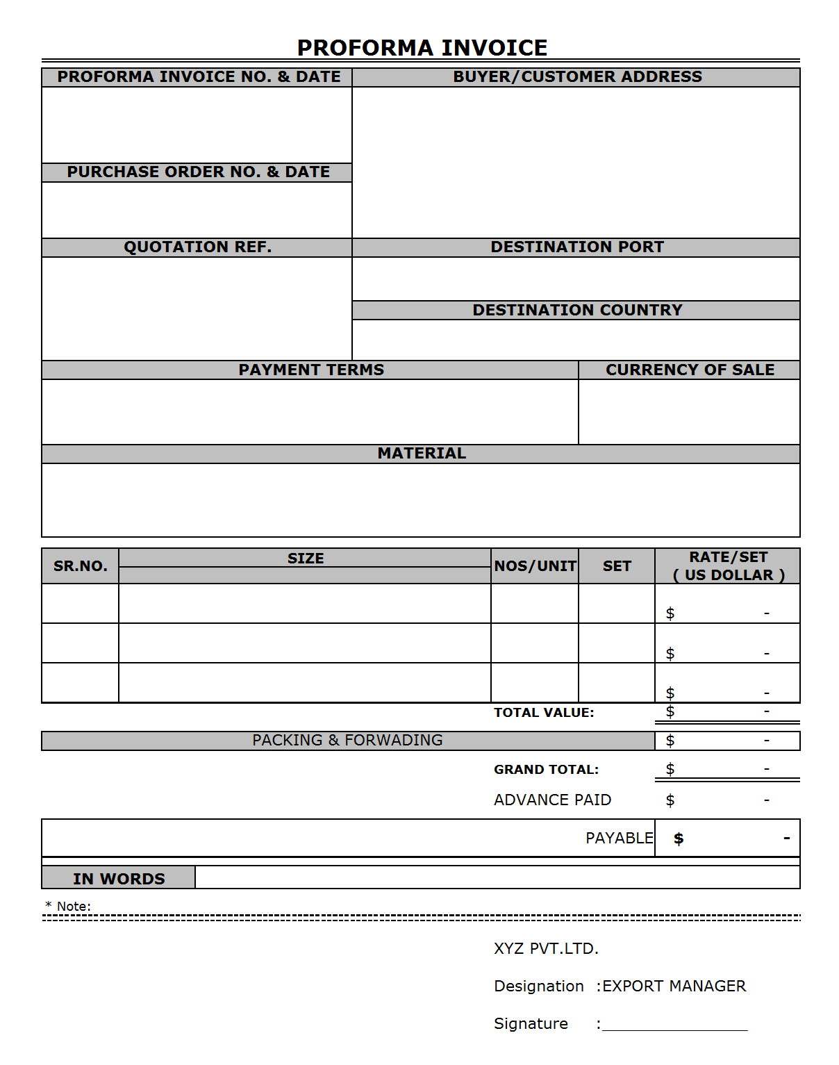 proforma invoice format for export – residers, Invoice templates
