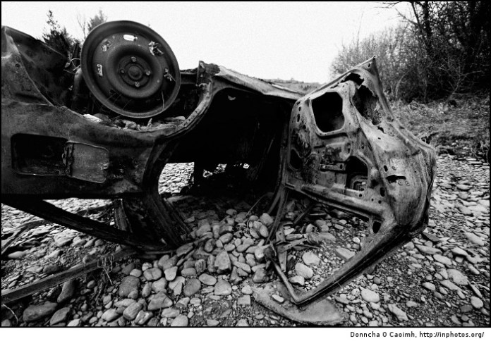 Burned out car