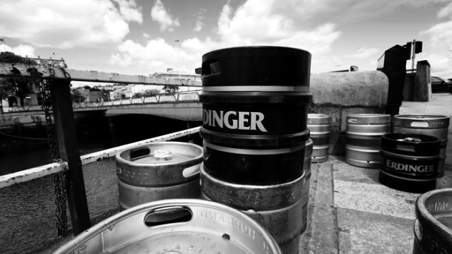 Beer kegs on the quay