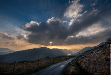 Sun sets over Kerry Mountains