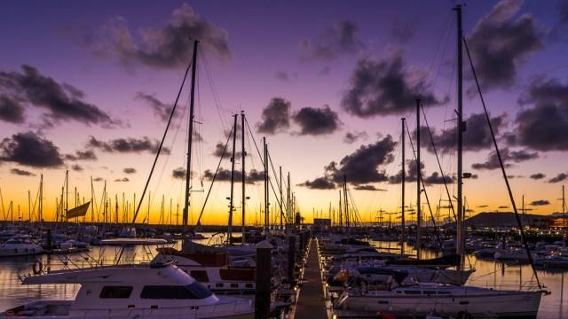 Sunset Boats in Playa Blanca