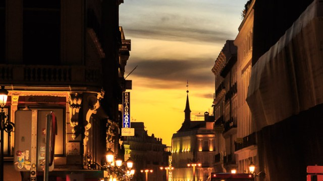 Madrid Streets at Sunset